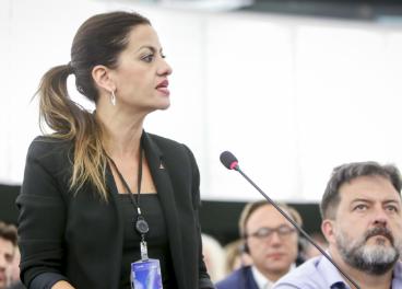 Sira Rego en el Parlamento Europeo.