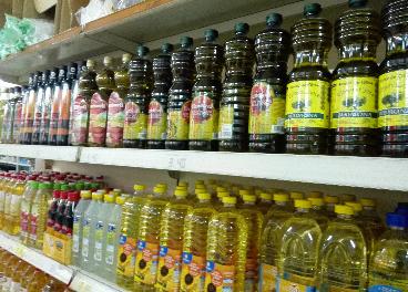 Bodegón de botellas de aceites