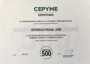 Certificado otorgado a Interóleo por Cepyme.