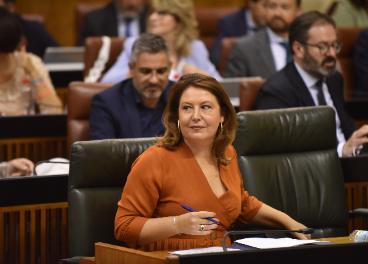 Carmen Crespo en el Parlamento andaluz. Foto de Archivo.